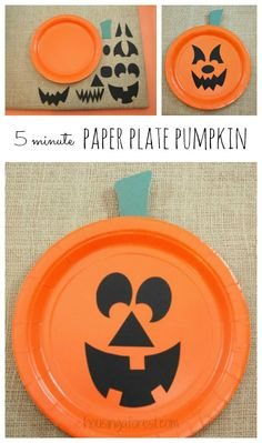 Paper Plate Jackolantern ~ The EASIEST Halloween pumpkin craft for kids