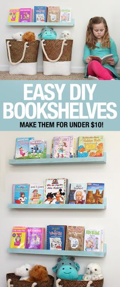 easy to make DIY bookshelves