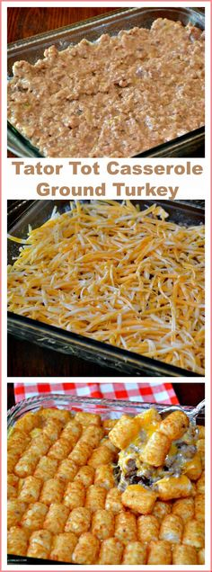 Tator Tot Turkey Casserole Tot Casserole with Ground – If you are trying to eat less beef, try this ground turkey in this Tater Tot No worries that it is bla Healthy Ground Turkey, Ground Turkey Recipes, Ground Meat, Quick Meals To Make, Food To Make, Easy Meals, Tator Tot Casserole Recipe, Casserole Recipes, Ground Turkey Casserole