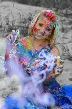 Senior pictures - model: Kayla! By: Holly Spencer Photography - trash the prom dress #trashthedress #trashthepromdress #colorful #paint #sillystring #country