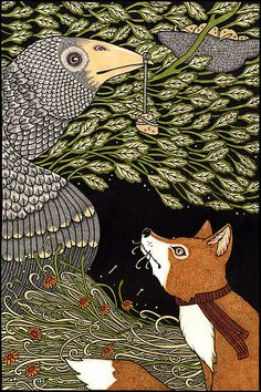 aesop's fables contemporary art | Anita Inverarity › Aesops Fables › The Fox and the Crow (Colour)