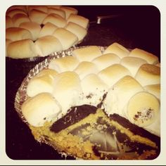Devils food cake baked in a graham cracker pie crust covered in marshmallows. So good.