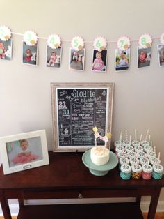 Aqua pink gold, first birthday month photo banner, October birthday chalkboard sign, favors