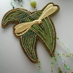 A fragment of a necklace I sold in Germany. It is in a loving home, I am sure about it. Bead embroidery.