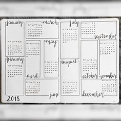 Bullet journal year at a glance, bullet journal future log. @allthingsbujo