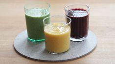 Tre fargerike og mettende smoothies (med ingefær)