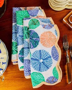 Summer placemats & napkins in fun and stylish colors! My seaside print is an intricate block print of soft almost pastel colors for warm evening entertaining or a stylish cup of coffee by yourself before the house wakes up. Something about the soft colors and the subtle block print just make me smile. Soft Colors, Pastel Colors, Table Setting Inspiration, Beautiful Table Settings, Brunch Party, Table Accessories, Cotton Napkins, Elegant Table, Bed Styling