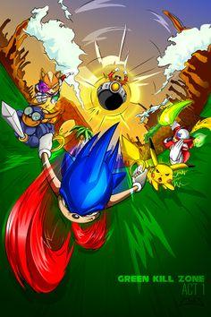 Green Kill Zone!  #sonic #sonicthehedgehog #game #videogame #pikachu #pokemon #zero #megaman #rocketknightadventures #sparkster #rocketknight #starfox #fox #eggman #robotnik #greenhillzone #vector #illustration #art #digital #adobe #illustrator