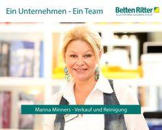 Hinter einem erfolgreichen Unternehmen steckt immer ein ambitioniertes Team.  Heute stellen wir Ihnen Marina Minners vor. Ihr Aufgabenbereich umfasst den Verkauf und die Reinigung.   Tolles Team = Glückliche Kunden = Erfolgreiches Unternehmen  www.bettenritter.com/Team