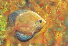 Fine Art Print Yellow Aquatic Fish Watercolor Painting