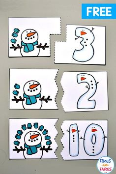 Practice counting with these Free Snowman Counting Puzzles! Your kids can practice numbers with these adorable winter puzzles! Practice counting with these Free Snowman Counting Puzzles! Your kids can practice numbers with these adorable winter puzzles! Preschool Themes, Preschool Lessons, Preschool Learning, Kindergarten Math, Preschool Crafts, Preschool Colors, Numbers Preschool, Winter Activities, Toddler Activities