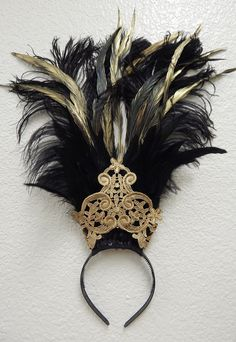 Egyptian gold black Ostrich Feather Belly Dance Headdress Cabaret Headpiece by sajeeladesign on Etsy https://www.etsy.com/transaction/1065903536