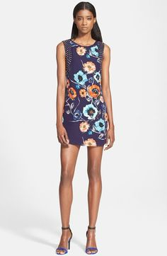 Haute+Hippie+Stud+Detail+Floral+Print+Silk+Dress+available+at+#Nordstrom