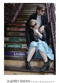 Chicago Engagement Photo Locations L Train Stairs | Brides.com