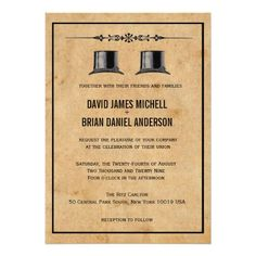 French Ornate Vintage Top Hat Gay Wedding Invites Personalized Announcements