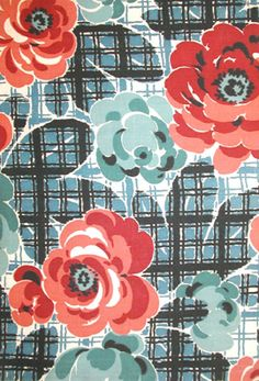 Retro Floral on Plaid:1940's European Vintage Textile (Cotton)