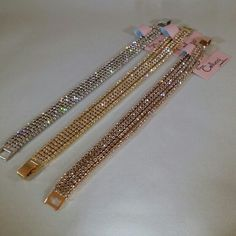 5 row Crystal bracelets available kn 3 colors : gold , rose gold & silver : Cellucci Jewellery collection♡♡