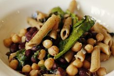 Ingredients: Whole Wheat Penne Pasta, Canned Red Beans, Canned Chickpeas/Garbanzo Beans, Black Olives, Fresh Spinach or Spring Mix, Newman's Own Olive Oil and Vinegar, Vegetable Broth, Red Chili Fl...