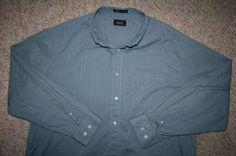 XXL Haggar blue pocket cotton polyester dress shirt solid 2XL 2X Mens Choice man #Haggar