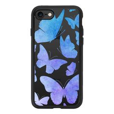 Cute Watercolor Butterflies - Butterfly Purple Blue - iPhone 7 Case... ($40) ❤ liked on Polyvore featuring accessories, tech accessories, phone cases, phone, phone covers, iphone case, purple iphone case, iphone cover case, clear iphone case and iphone cases