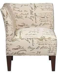 Handwritten Script Pattern on linen fabric with a curved high back, fantastic for a creative contemporary themed living room or casually elegant bedroom. | Brule Chair cort.com