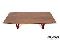 Etz & Steel Bond Live Edge Table Red Base #woodslab #woodwork #tables #diningtable #liveedge #interior