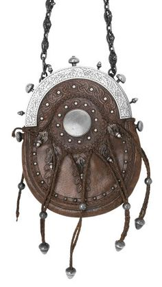 Antique silver and leather sporran