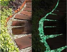 Glow in the Dark Stones are heavily used in interior design, landscape design and styling. Main ingredient of the glowing stones is a wear-proof plastic which makes them extra durable and impact resistant<br> Backyard Plan, Backyard Retreat, Backyard Landscaping, Garden Structures, Garden Paths, Landscape Design, Garden Design, Glow Stones, Stone Walkway