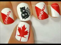 Celebrate Canada Day with a Special Nail Art Design!Celebrate Canada Day with a Special Nail Art Design!Let's Celebrate! Cute Nail Polish, Cute Nail Art, Beautiful Nail Designs, Cool Nail Designs, Love Nails, Pretty Nails, Sculpted Gel Nails, Wood Badge, Crazy Nail Art