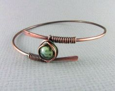Copper bracelet wire jewelry purple bracelet by TroublesDesigns