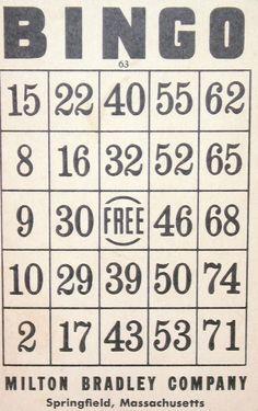 One of some vintage Bingo cards I own. I love the typography on these. Free Bingo Cards, Bingo Card Template, Vintage Labels, Vintage Ephemera, Crafts To Do, Paper Crafts, Bingo Patterns, Bingo Night, Craft Images