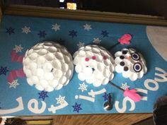 Cartwheeling Snowman Door Decor... Foam cups, a hot glue gun, and construction paper.