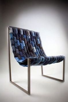 Denim Chair Recycled Upcycled denim old jeans Denim Furniture, Furniture Design, Recycled Furniture, Recycle Jeans, Upcycle, Upcycling Design, Upcycling Projects, Nachhaltiges Design, Interior Design