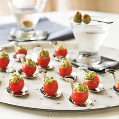 Stuffed Cherry Tomatoes Party Appetizer Recipes < Best Party Appetizers and Recipes - Southern Living Mobile Best Party Appetizers, Finger Food Appetizers, Christmas Appetizers, Easy Appetizer Recipes, Appetizer Ideas, Tomato Appetizers, Shrimp Appetizers, Healthy Appetizers, Mini Aperitivos