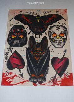 handpainted tattoo flash, bat hearts and skulls by Anji Marth resonanteye[s] on Etsy