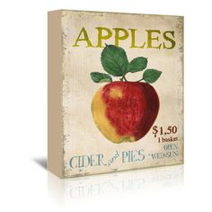 """August Grove Apples, Cider and Pies Vintage Advertisement on Wrapped Canvas Size: 30"""" H x 24"""" W x 1.5"""" D"""