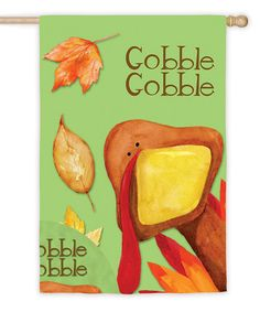 Loving this 'Gobble Gobble' Suede Outdoor Flag on #zulily! #zulilyfinds
