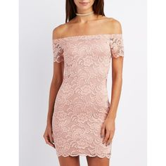 Charlotte Russe Lace Off-The-Shoulder Bodycon Dress ($16) ❤ liked on Polyvore featuring dresses, mauve, lace shift dress, shift dresses, lace dress, sexy cocktail dresses and sexy body con dresses