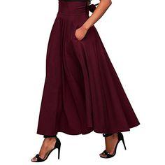Women High Waist Pleated A Line Long Skirt Front Slit Belted Maxi Skirt