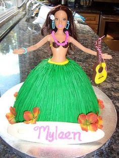 Hula girl doll cake. For Luau birthday party. Too cute.