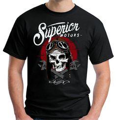Superior Motors Skull Biker old school black Gildan T-Shirt Size S-XXXL #Handmade #BasicTee
