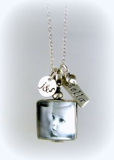 Glass Locket, New Mom Jewelry, Initials, New Baby Jewelry, New Parents, Necklace, Sterling, Mom & Dad, Initial, Personalized, BL3 on Etsy, $90.00