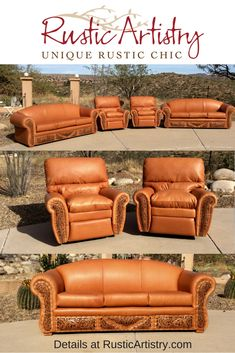 Sofas and recliners with hand tooled leather insets from Rusic Artistry. Log Cabin Furniture, Rustic Wood Furniture, Western Furniture, Design Furniture, Mexican Furniture, Western Bedroom Decor, Western Living Rooms, Western Bedrooms, Rustic Bedrooms