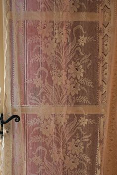 Pair French Vintage Ivory Lace Curtain Panels