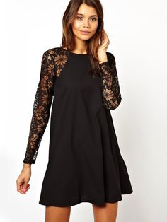 Black Contrast Lace Long Sleeve Chiffon Dress US$34.83