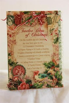 graphic 45 12 days of christmas,paper and chipboard, fussy cutting, lace.
