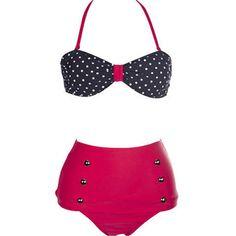 $15.00 Women's Retro Vintage Swimsuits Swimwear Bandeau High Waisted Bikini Set(Black Rose Red)