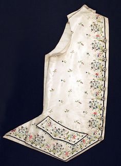 Ensemble (man's waistcoat), French, silk, c 1780. Metropolitan Museum of Art
