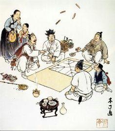윷놀이.Korean traditional game, Yeout noli.