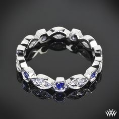 """White Gold """"Odyssey"""" Diamond and Blue Sapphire Right Hand Ring"""